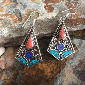 Turquoise Coral Inlay 925 Silver Earrings
